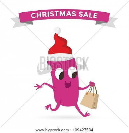 Cartoon cute monsters Christmas sale shopping vector. Shopper Christmas sale monsters cartoon illustration. New Year sale shopping bag, cute monster set. Monster shopping Christmas sale bag vector