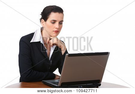Beautiful young business woman isolated over white background.