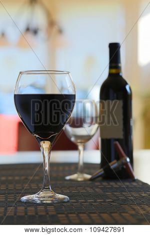 Wine poured in glass at home