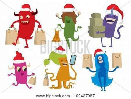 Cartoon cute monsters Christmas sale shopping vector. Shopper Christmas sale monsters cartoon. New Year sale bag icon, cute monster set. Monster shopping Christmas sale bag. Cartoon cute monster sale