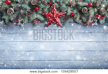 Christmas Greeting Card - Fir Branch And Decoration On Snowy Plank