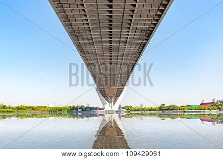 Under View Of Bhumibol Bridge In Bangkok Thailand, On Clear Sky
