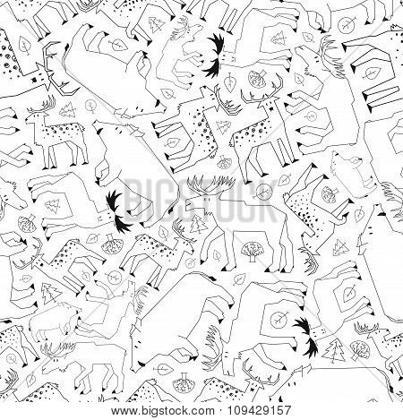 forest animals pattern, black and white