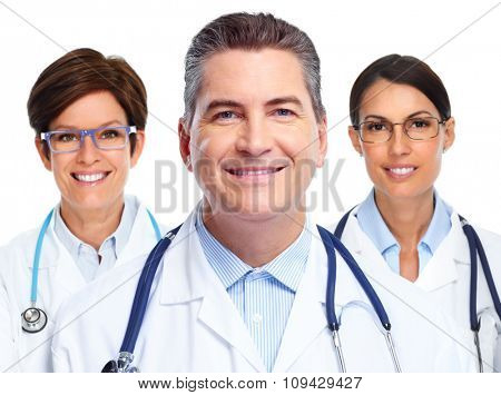Group of hospital doctors. Health care background.