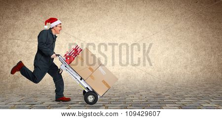 Delivery man with boxes. Express Christmas shipping.