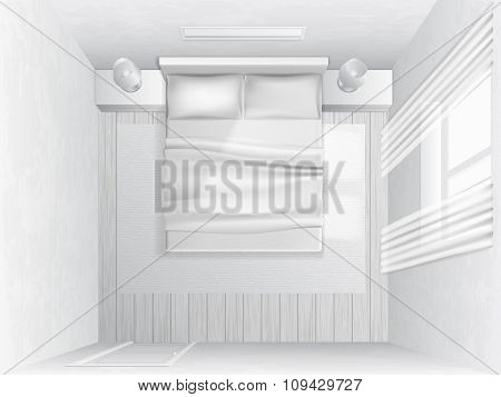 Top View Bedroom. Vector illustration.