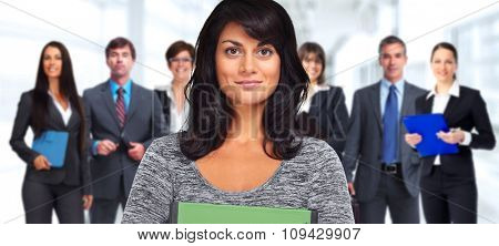 Beautiful young business woman over people group background.
