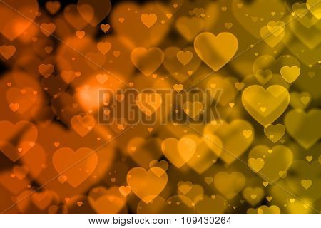 Orange And Yellow Hearts Background With Bokeh Effect