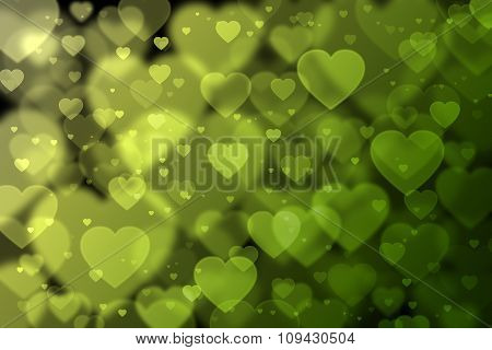 Yellow And Green Hearts Background With Bokeh Effect