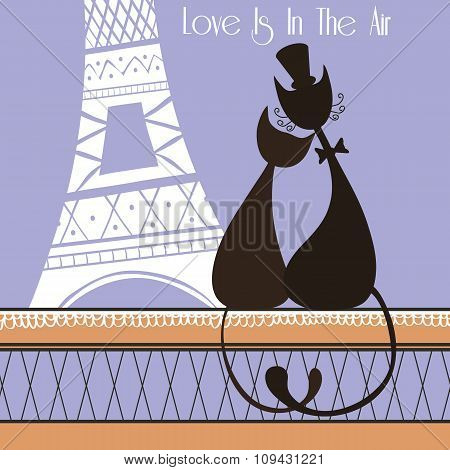Vector Illustration with cute lovers cats in Paris