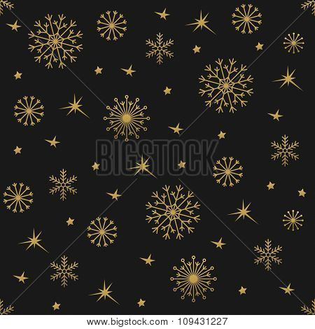 Winter gold background with snowflakes. Vector pattern Illustration