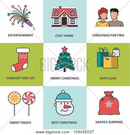 Christmas Symbols Flat Style