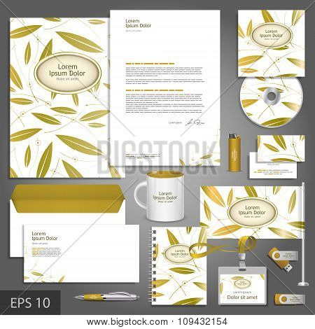 Floral Corporate Identity Template With Golden Leaves