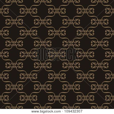 Seamless background in Arabic style. Black, brown wallpaper with patterns for design. Traditional oriental decor