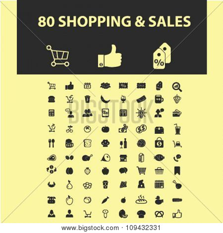 shop, sales, supermarket shopping retail  icons, signs vector concept set for infographics, mobile, website, application