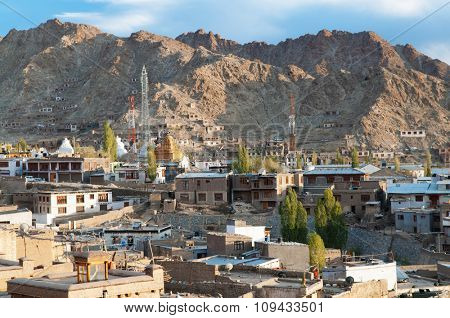 View of Leh city, the town is located in the Indian Himalayas at an altitude of 3500 meters, North India