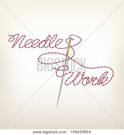 Sewing Needle With Red Thread Needle Work. Vector Illustration