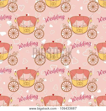 Vector wedding retro carriage seamless pattern