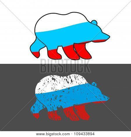 Bear Flag Of Russia. Russian Wild Animal.