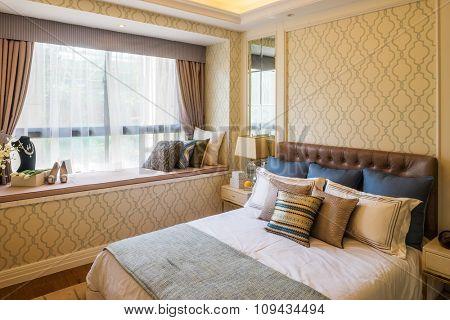 interior of bedroom in modern villa