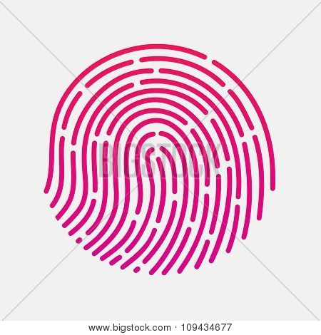 Circle touch fingerprint id app vector illustration