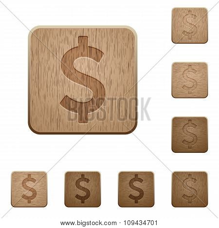 Dollar Sign Wooden Buttons