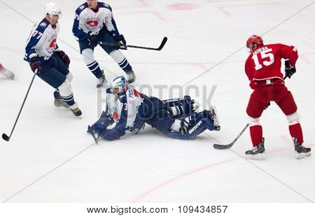 Goalkeeper I. Proskuryakov (73) Defend The Gate In A Middle Of The Rink
