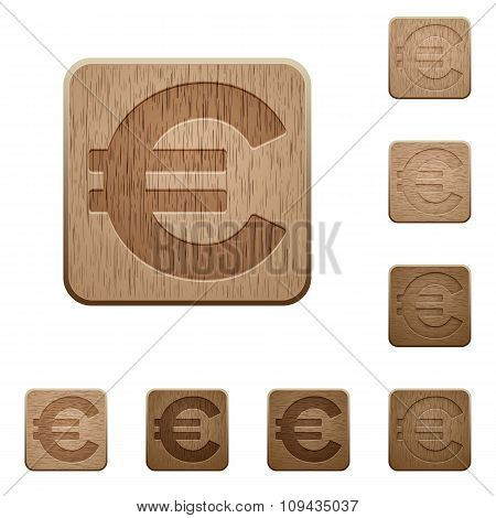 Euro Sign Wooden Buttons