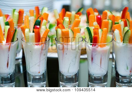 Glasses With Vegetables Snacks On Banquet Table