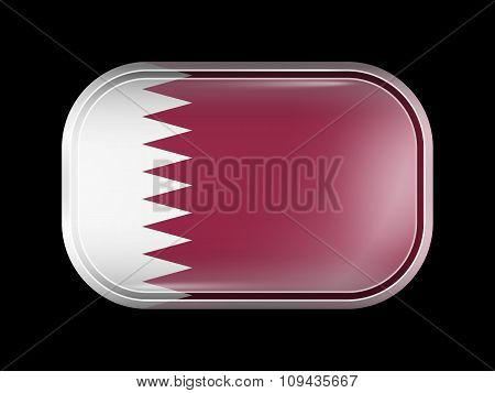 Flag Of Qatar. Rectangular Shape With Rounded Corners