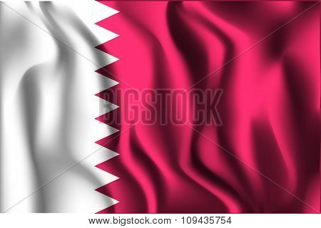 Flag Of Qatar. Rectangular Shape Icon
