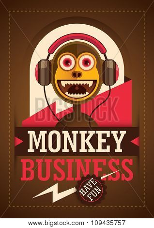 Comic monkey with headphones. Vector illustration.