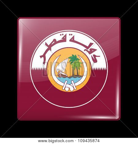 Qatar Coat Of Arms. Glassy Icon Square Shape