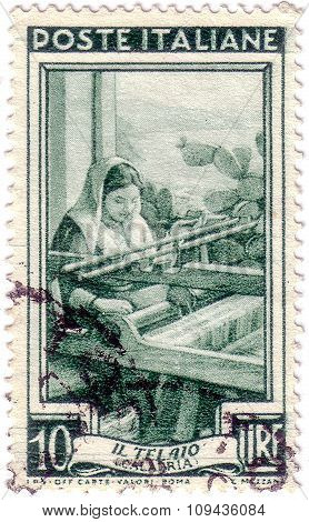 Italy - Circa 1950: A Stamp Printed In Italy, Shows Calabria - The Frame, With The Same Inscription,