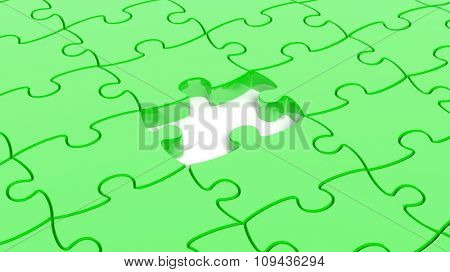 Abstract background with green puzzle pieces one piece missing.