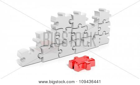 White puzzle pieces forming wall with one red piece down, isolated on white.