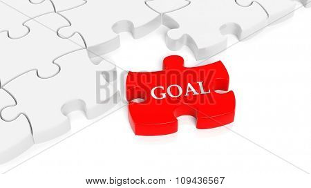 Abstract white puzzle pieces background  with one red with Goal text.