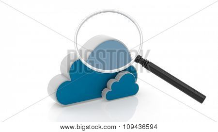 Cloud and magnifier icons isolated on white background.