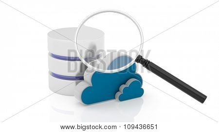 Database, cloud and magnifier icons isolated on white background.