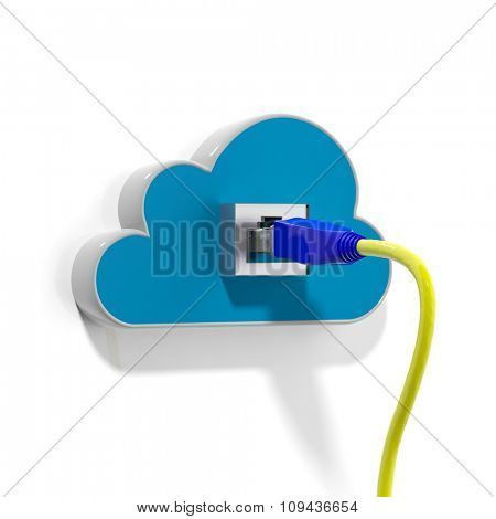 Cloud icon with Ethernet cable, isolated on white background.