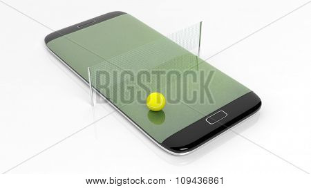Tennis field with filet and ball on smartphone edge display, isolated on white.
