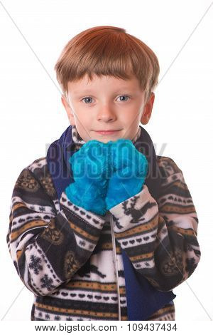 Portrait Of The Boy In Warm Clothing.