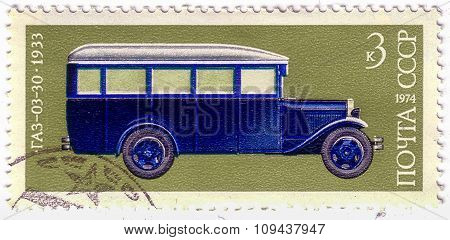 Ussr - Circa 1974: A Stamp Printed In Ussr Shows Gaz 03-30 Bus, 1933, Development Of Russian Automot