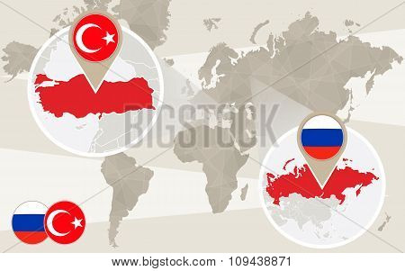 World Map Zoom On Turkey, Russia