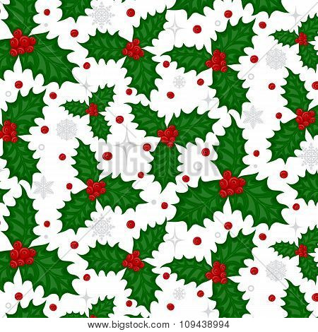 Pattern With Holly Berries