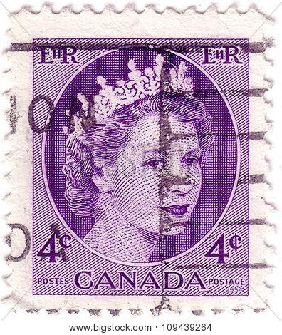Canada - Circa 1954: Stamp Printed By Canada, Shows Queen Elizabeth Ii, Circa 1954