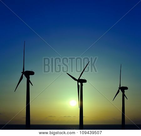 Wind park at sunrise