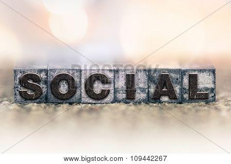 Social Concept Vintage Letterpress Type