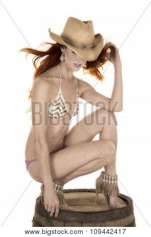 Red Head Woman In Bikini On Barrel Cowgirl Look Down