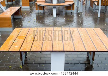 View Tables Wet After The Rain In A Cafe